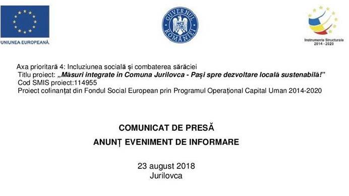 """""""Măsuri integrate în Comuna Jurilovca - Pași spre dezvoltare locală sustenabilă!"""""""