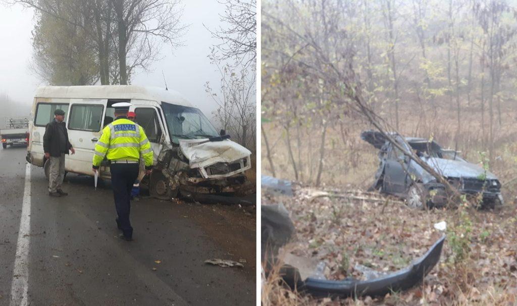 Șofer rănit după ce a intrat în plin într-un microbuz, după care s-a răsturnat