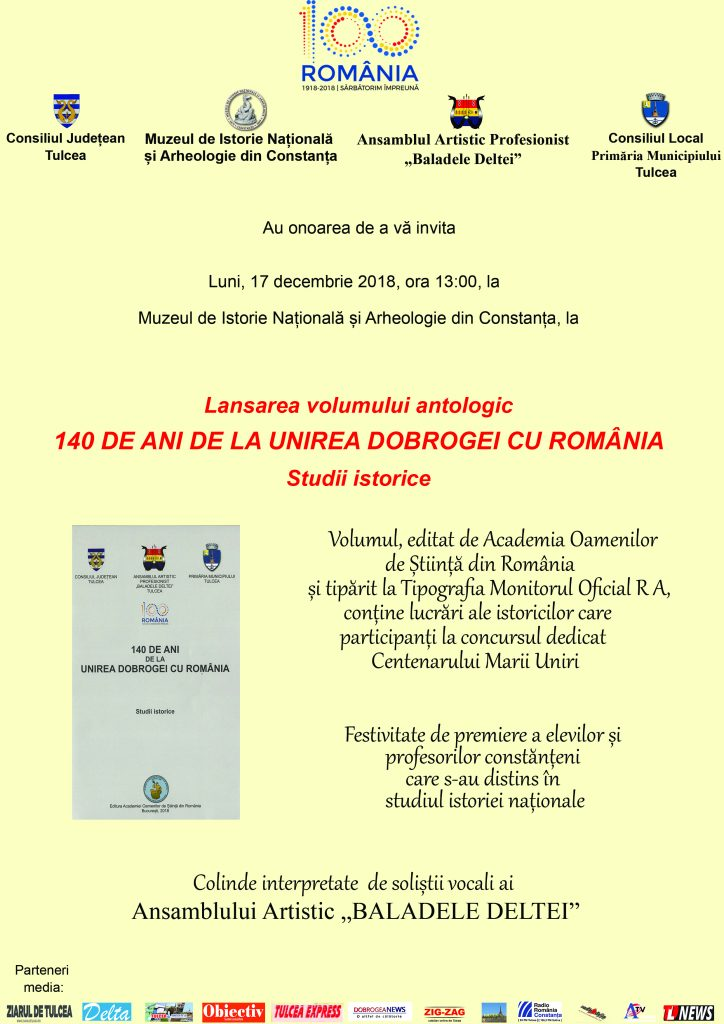 """Lansarea la Constanța a volumului""""140 de ani de la unirea Dobrogei cu România"""""""