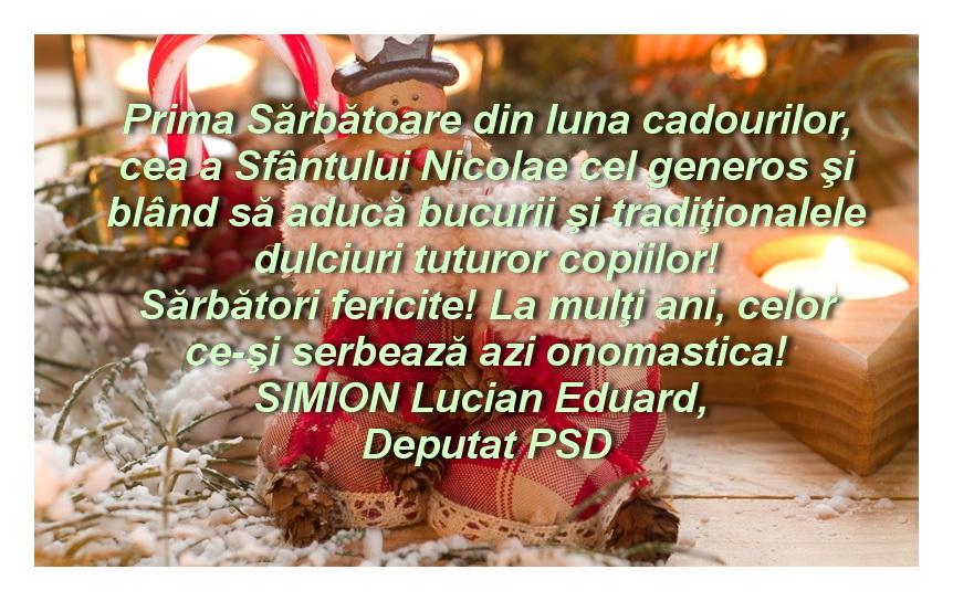 Mesajul domnului deputat Lucian Simion de Sf. Nicolae