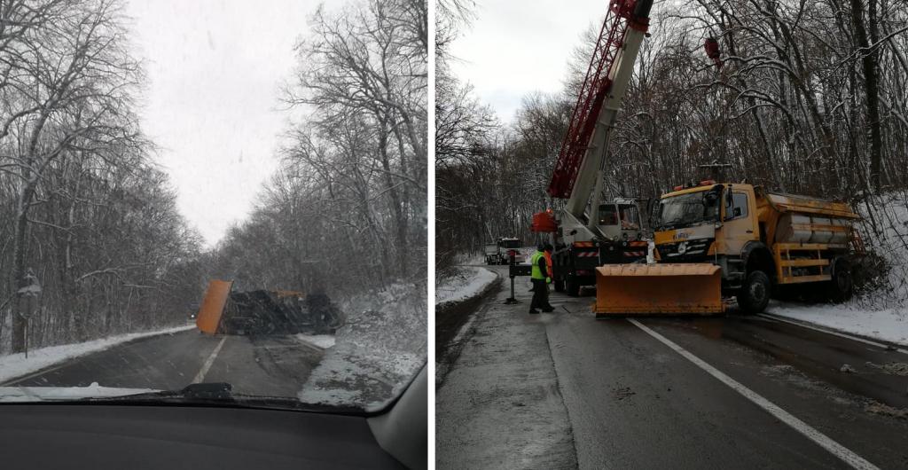 Drumul din pădurea Topolog a fost degajat după trei ore. Acum se circulă normal