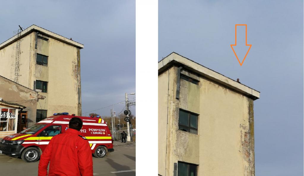 Un bărbat s-a urcat pe clădirea morii şi ameninţă că se aruncă