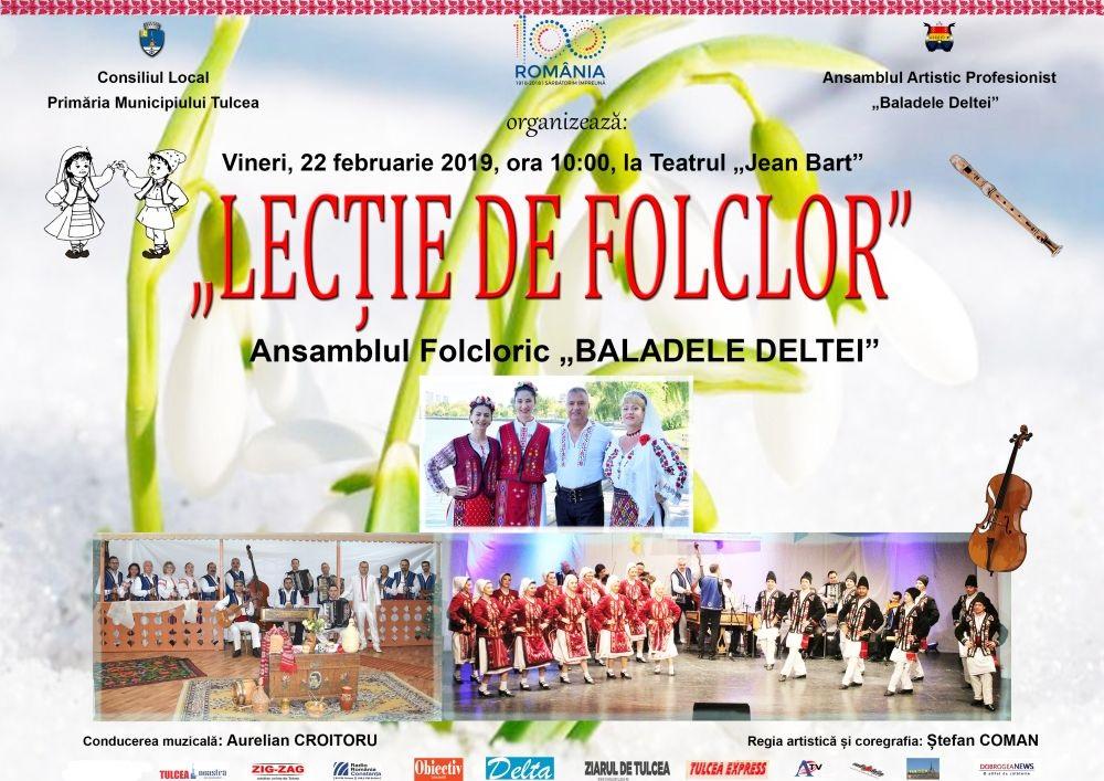 """""""Baladele Deltei"""" organizează vineri, 22 februarie, de la ora 10.00, la Teatrul Jean Bart -"""
