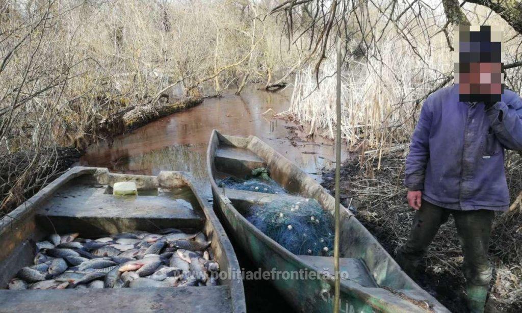 Peste 100 kg peşte fără documente legale şi plase de pescuit, confiscate de poliţiştii de frontieră tulceni