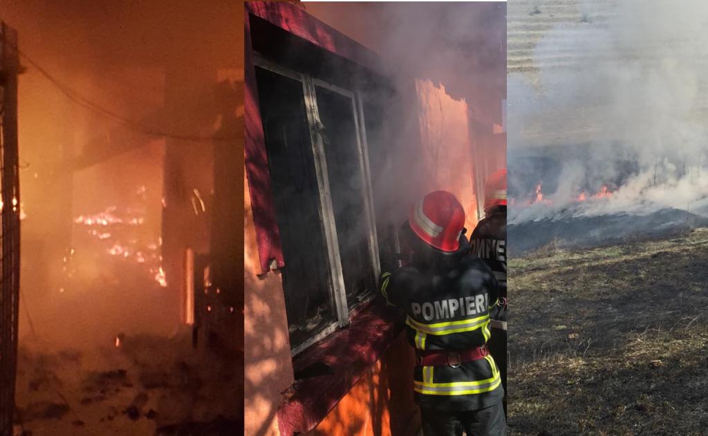 Zi de foc pentru pompieri! Incendii la două case şi 50 de hectare de vegetaţie