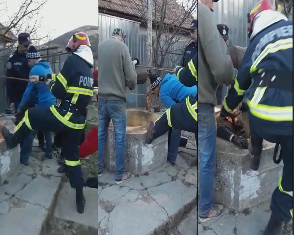 Un bărbat a murit înecat în fântâna din curtea casei. Pompierii au coborât 25 de metri pe frânghie pentru a scoate cadavrul