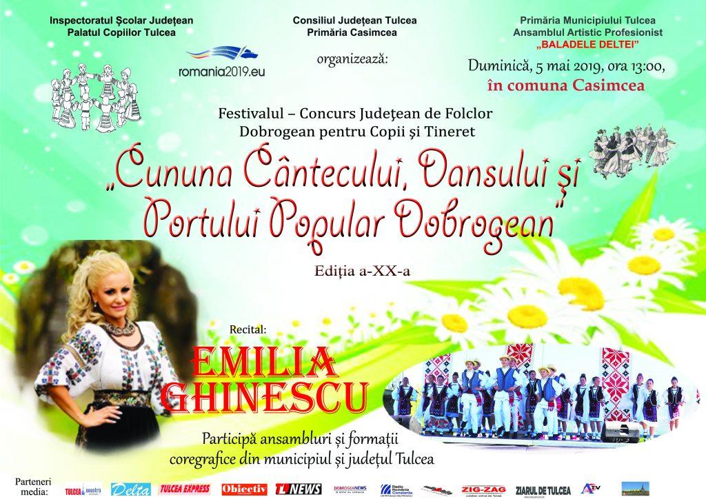 """""""Cununa cântecului, dansului și portului popular dobrogean"""" Ediția a XX-a, la Casimcea"""