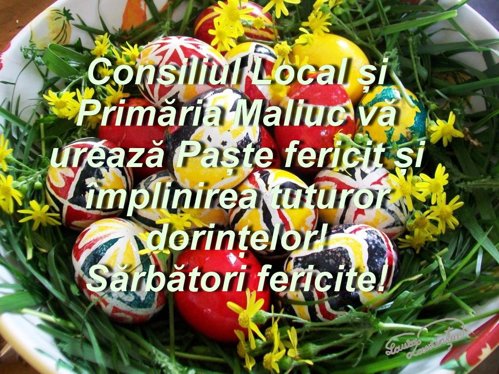 Consiliul Local și Primăria Maliuc vă urează Paște fericit!