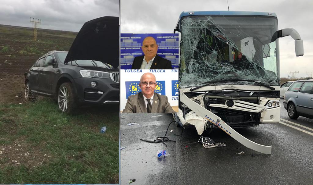 Deputaţii Șișcu şi Gudu, internaţi după un accident cu un autocar în județul Constanța