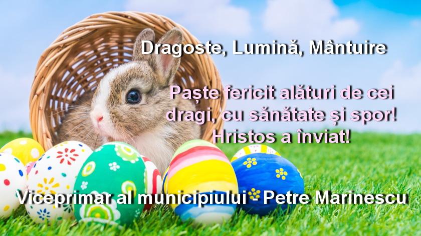 Domnul viceprimar Petre Marinescu vă urează Paște fericit!