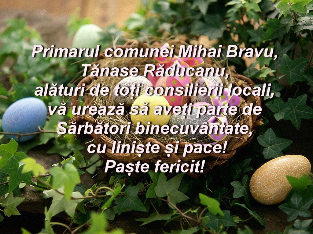 Consiliul Local și Primăria Mihai Bravu vă urează Paşte fericit!