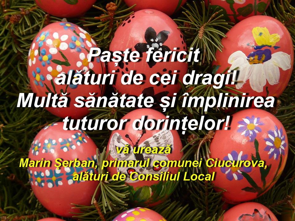 Consiliul Local și Primăria Ciucurova vă urează Paşte fericit!