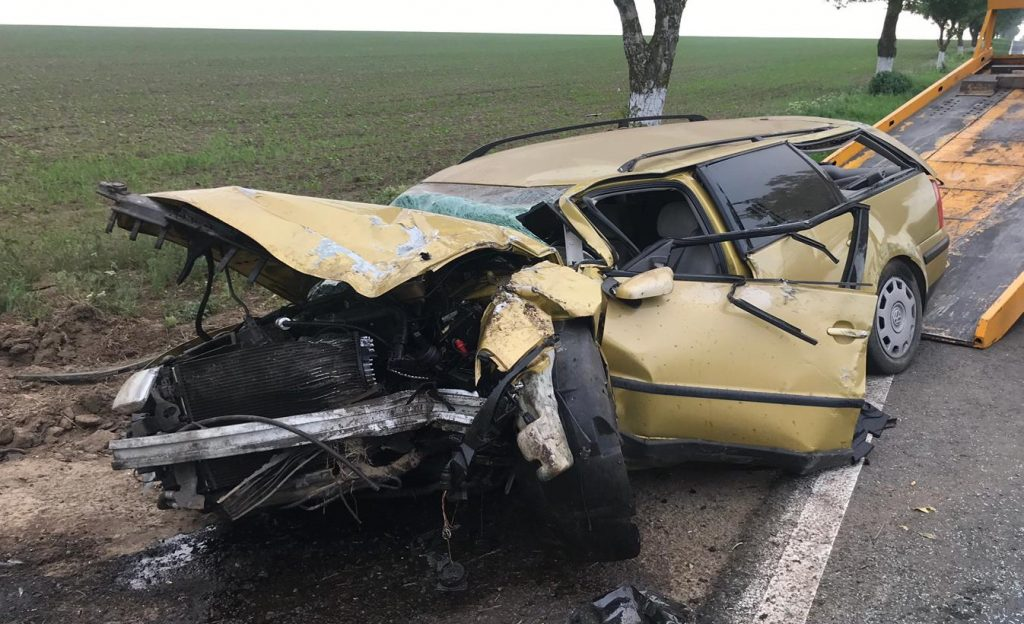 Mașină distrusă după ce a retezat un copac