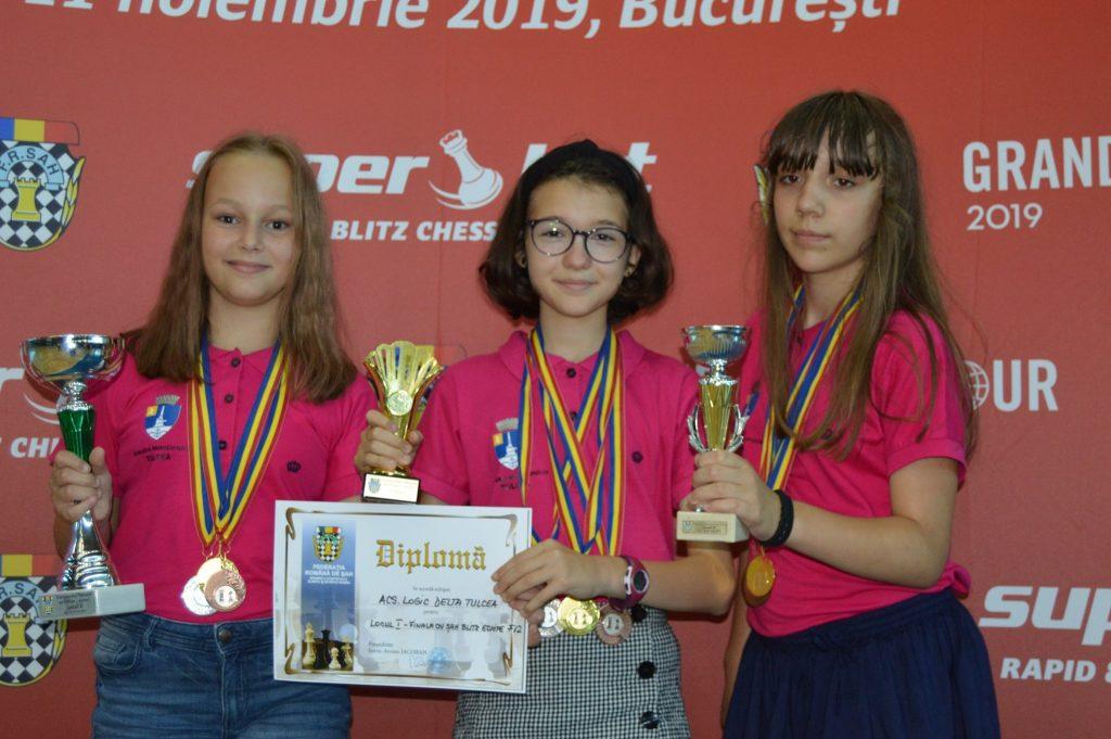 Echipa de fete 12 ani de la Logic Delta Tulcea a devenit CAMPIOANĂ NAȚIONALĂ la Șah blitz pe echipe - Iași 2019