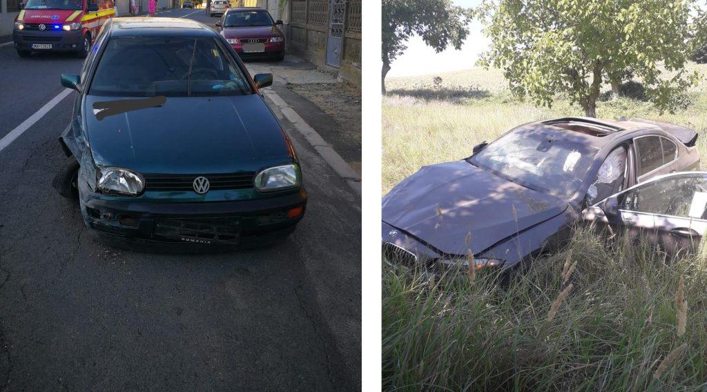 Două accidente - trei răniți. Unul a intrat cu mașina în gard, celălalt s-a răsturnat într-o livadă