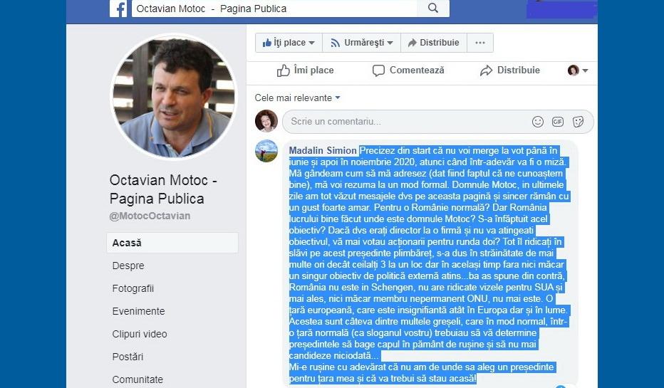 Liberalul Octavian Motoc certat de tulceni pe pagina de facebook