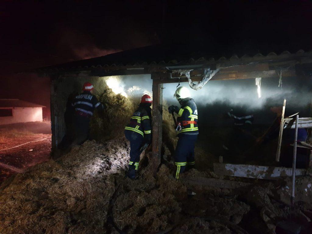 Pompierii din Babadag solicitaţi să stingă un grajd în flăcări