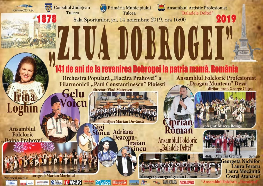 """""""Ziua Dobrogei"""" aduce la Tulcea nume sonore ale folclorului românesc, pe 14 Noiembrie la Sala Polivalentă"""