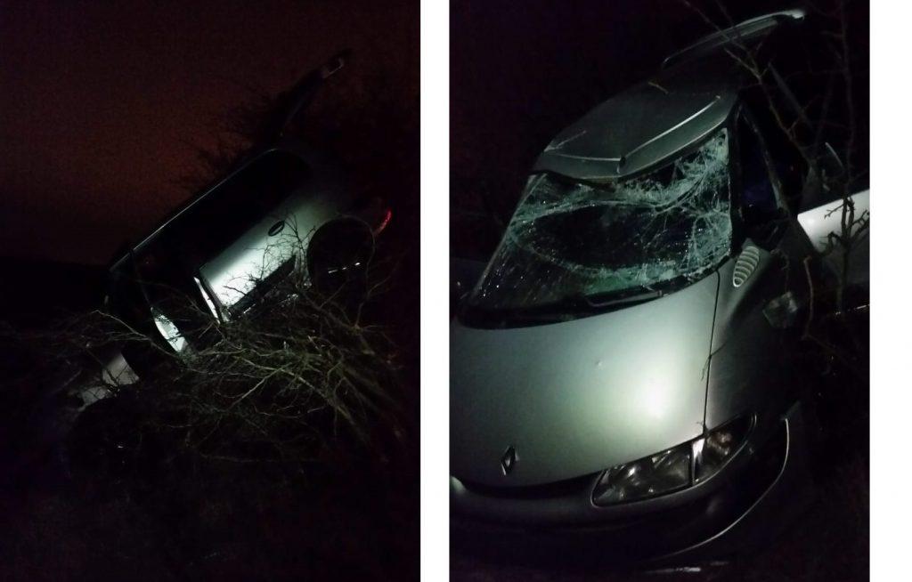Rupt de beat, a zburat cu maşina, a rupt un stâlp şi a rămas suspendat pe vegetație