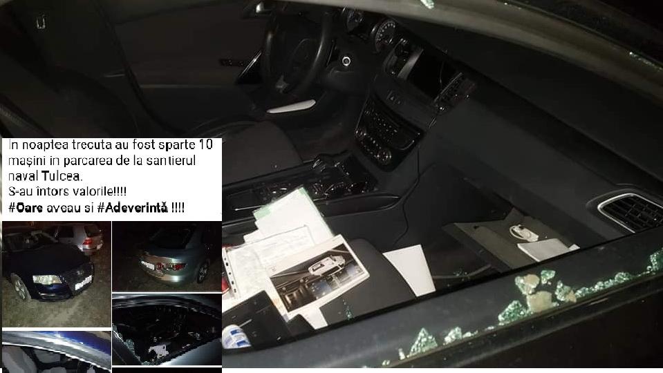 Şapte maşini au fost sparte azi noapte într-o parcare de lângă şantierul naval. Hoții nu știu că au fost filmați...