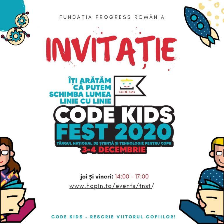 """CODE KIDS FEST 2020: """"SAFE Bike"""", """"Robotul însoțitor pentru nevăzători"""", """"Senzorul de distanțare socială"""" și alte proiectele digitale concurează pentru un loc pe podium la Târgul Național de Știință și Tehnologie pentru Copii București"""