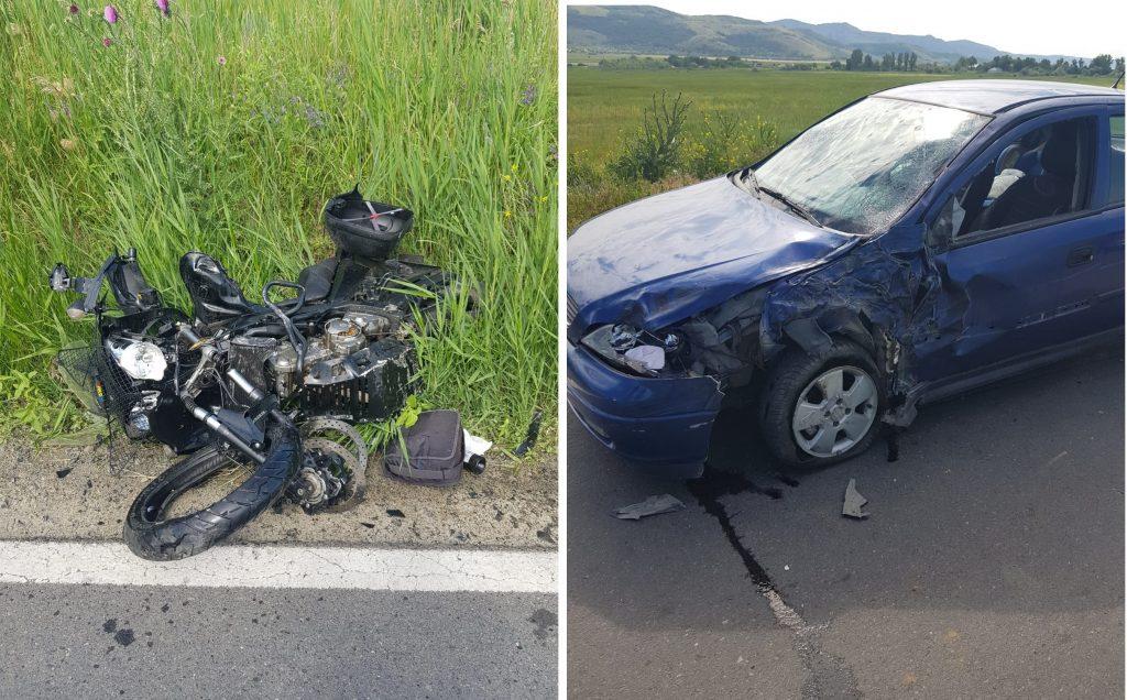 Un motociclist s-a făcut zob într-un autoturism, aproape de Măcin. Intervine elicopterul SMURD